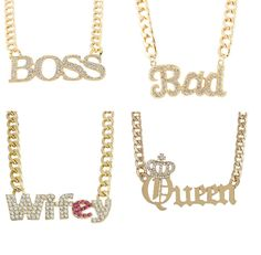 Goldtone Iced Out Famous Sayings Pendant Cuban Chain Necklace Set [Jewelry]