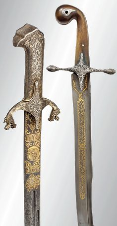 An Ottoman gold-inlaid Karabela, 18th cent.& a silvermounted Ottoman kilij, circa 1820.