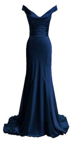 Fitted off the shoulder navy gown