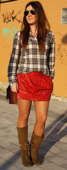 www.streetstylecity.blogspot.com  Fashion inspired by the people in the street ootd look outfit sexy high heels legs woman girl boots miniskirt skirt red leather