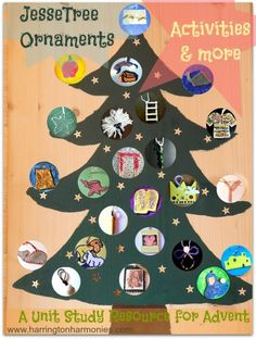 Jesse Tree Ornaments & Activities - Maybe our elf will bring or hide the daily ornament and story. Elf on the Shelf