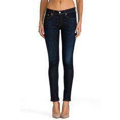 rag & bone/JEAN Skinny Jeans ($198) ❤ liked on Polyvore featuring jeans, super skinny jeans, blue skinny jeans, skinny fit jeans, frayed skinny jeans and denim skinny jeans