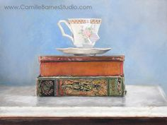 9 x 12 Original oil painting on panel framed  Tea Time Realism, original painting, tea cup & antique books. OilPainting handmade, best etsy shop