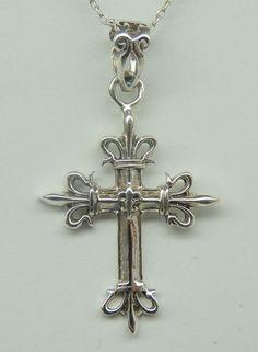 Kreuz Fleur de Lis Anhänger 925 Silber Kreuzanhänger französische Lilie Kette