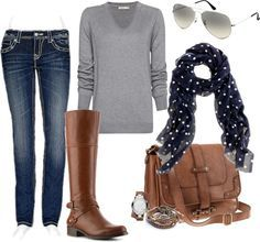 """""""polka dots"""" by partywithgatsby on Polyvore    Love the scarf!"""