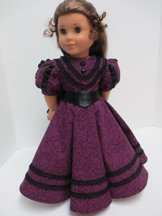 In 1889 the bustle began to fade. Gathers in the back of the skirt remained and sleeves began to grow larger. This dress has a balloon sleeve