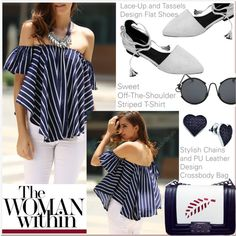 How To Wear navy striped top Outfit Idea 2017 - Fashion Trends Ready To Wear For Plus Size, Curvy Women Over 20, 30, 40, 50