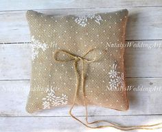 Burlap Ring pillow Rustic ring bearer Burlap ring cushion by NatalysWeddingArt