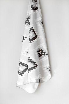 Organic Tribal Aztec Swaddle Blanket by WrenandRumor on Etsy, $36.00