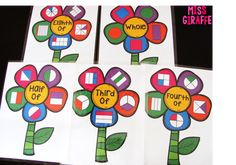 How to make fraction flowers to practice halves and fourths in first grade and thirds and eighths for grade and a lot of hands on fractions activities that make it so much more engaging! Fraction Activities, Math Activities For Kids, Fun Math, Math Resources, Fraction Games, Math Help, Math Class, Math Games, Fractions Worksheets