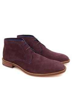 Suede casual ankle boot - Dark Red | Footwear | Ted Baker UK