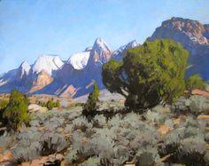 """View From Jill's House,"" J. Brad Holt oil on linen panel (from Rockville, Utah Mesa, looking into Zion Canyon) Western Landscape, Landscape Art, Landscape Paintings, Oil Paintings, Landscapes, Types Of Desert, Zion Canyon, Desert Art, Geology"