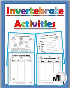 FREE Invertebrate Animals Activities ~ Includes: a Word Search Puzzle, a Scrambled Words, and 2 Graphic Organizers (KWL Chart and Tree Map)