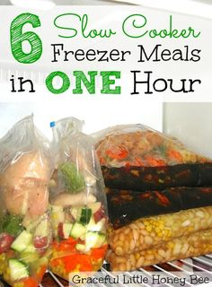 Slow Cooker Freezer Meals in One Hour Learn how to make 6 easy slow cooker freezer meals in one hour! No cooking required!Learn how to make 6 easy slow cooker freezer meals in one hour! No cooking required! Slow Cooker Freezer Meals, Make Ahead Freezer Meals, Crock Pot Slow Cooker, Freezer Cooking, Crock Pot Cooking, Slow Cooker Recipes, Crockpot Recipes, Easy Meals, Cooking Recipes