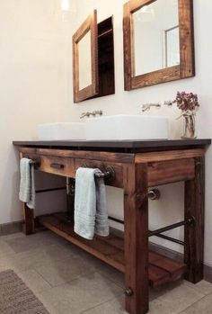 Amazing DIY Bathroom Ideas, Bathroom Decor, Bathroom Remodel and Bathroom Projects to simply help inspire your master bathroom dreams and goals. Bathroom Vanity Designs, Rustic Bathroom Vanities, Rustic Bathroom Decor, Bathroom Cabinets, Small Bathroom, Bathroom Ideas, Bathroom Inspiration, Bathroom Mirrors, Master Bathrooms