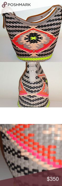 F35053 Coach Southwestern Woven Duffle Authentic F35053 Southwestern Woven Duffle Colors Shoulder Bag  No signs of wear  Coach Bag #35053 Rare Authentic Research It Doesn't include hang tag Bag will be priced according to market price.  Has sold on other platforms btwn $300-600  Product Info from Coach  The Coach Duffle is re imagined in leather woven with a vivid geometric motif. iconic silhouette a vibrant, modern look,. Leather Inside zip and Inside zip and multi-function pockets Strap…