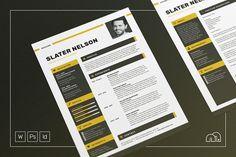 Resume/CV - Slater by bilmaw creative on @creativemarket / Professional Resume Template / Cover letter / Curriculum Vitae