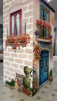 another example of the delightful detail to Mural Wall Art, Mural Painting, Tole Painting, Painting On Wood, Diy Painting, Clay Houses, Miniature Houses, Miniature Dolls, Doll House Crafts