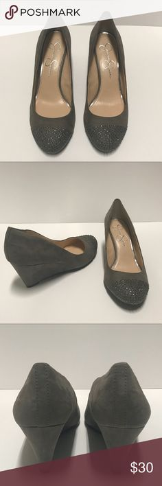 """Jessica Simpson Wedges Size 7.5, Jessica Simpson, Gray, Suede Wedges with Sparkled  Round Toe .  In excellent pre-owned condition.  No signs of wear other than bottom of shoe (see pictures).  Heel height 3"""" Jessica Simpson Shoes"""