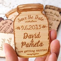 Traditional wedding invites not for you? These mason jar fridge magnet save the dates might be for you! How awesome! Available from: 'CorkCountryCottage' @etsy store! #WedPics #weddingapp #savethedates #weddinginvites #weddinginspiration