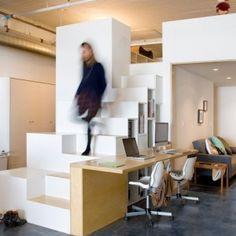 CHA:COL creates a live-work space in LA using hacked Ikea products trap kast mezzanine diy slaapplateau
