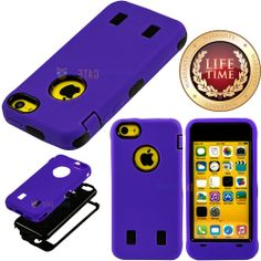 Amazon.com: myLife (TM) Violet Purple + Black Layered Survivor (Built In Screen Protector) Shockproof Case for New Apple iPhone 5C Touch Pho...