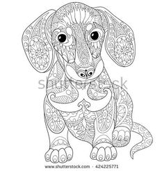 Zentangle stylized cartoon dachshund dog, isolated on white background. Hand drawn sketch for adult antistress coloring page, T-shirt emblem, logo or tattoo with doodle, zentangle design elements.