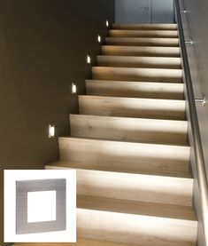 These low-level stair lights are installed into standard UK plug back boxes. Low level light or guide light that uses low heat and low energy LED chips available in two fixture options with white or blue LEDs. Home Stairs Design, Foyer Design, Interior Stairs, Stair Design, Staircase Lighting Ideas, Stairway Lighting, Flooring For Stairs, Stair Walls, House Stairs