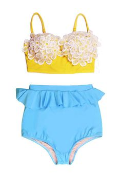 a522ac34dc481 Yellow Floral Flora Flower Top and Blue Peplum High Waisted Shorts Bottom  Vintage Retro Bikini set Swimsuit Swim Bathing suit Swim wear S M