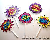 15 Superhero Boom, Bam, Zap, Pow, and Pop Toppers