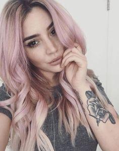 pink hair. tattoo.