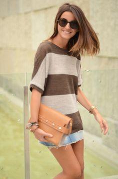 striped knit, denim, studded clutch