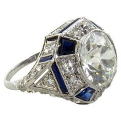 Art Deco Platinum, Diamond and Sapphire Ring.