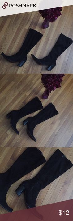 """👢👢💋Sexy black suede boots 💋👢👢 Purchased pair overseas. Suede-like black. Size 37, 3"""" chunky comfy heel. Fits 7-7.5 size. 7"""" calf up top with some stretch. Pre-loved and have wear left to them. Note the heels (factored into price). Needs a wipe down and you are good to rock this hot pair! Heavily discounted to sell. Bundle and save even more!!! Shoes Heeled Boots"""