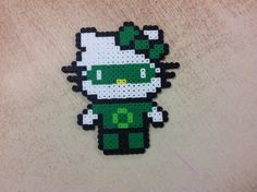 Green Lantern Hello Kitty perler beads by Amanda Collison