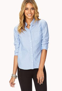 FOREVER 21 Essential Polka Dot Oxford Shirt on shopstyle.com