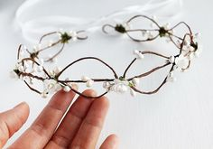 Ivory Bridal Crown Wedding Halo Woodland Rose by HandyCraftTS