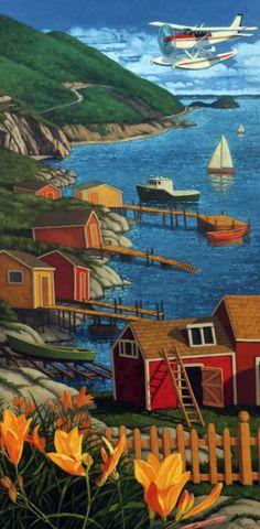 """Landing in Cape Breton,"" Paul Hannon, oil on canvas, 48 x private collection. Canadian Painters, Canadian Artists, Clarence Gagnon, Cape Breton, Building Art, Naive Art, Strand, Home Art, Landscape Paintings"