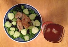 Dinner: Sautéed fish fillet with capers over salad greens. Kirby cucumber. Iced tea.