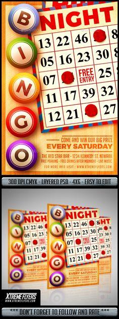 bingo flyer    bingo night poster    template church school