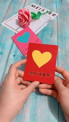 Diy Gifts For Mom, Diy Gifts For Friends, Diy Crafts For Gifts, Diy Arts And Crafts, Fun Crafts, Diy Origami Cards, Instruções Origami, Paper Crafts Origami, Oragami