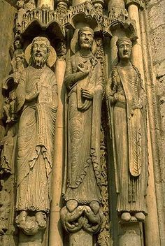 Chartres Cathedral SculpturesFigures  French Gothic   relief sculpture door jambs  13th Century
