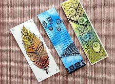 3 pomysły na zakładki do książek z akwarelą Diy Bookmarks, Zentangle, Doodles, Bullet Journal, Inspiration, Marque Page, Reading, Biblical Inspiration, Zentangle Patterns