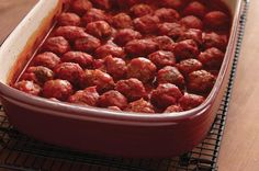 Double Duty # Meatballs #Pampered #Chef style, made in the #rectangle #stoneware #baker.  Join my Facebook Page for more fun tips www.facebook.com/cookingwithmichelle