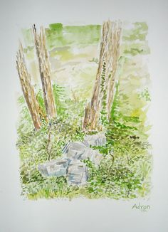 Artist Adron: Watercolor Sketch of Rocks by Trees. You can read about my work at the blog http://artistadron.blogspot.com/2012/07/watercolor-sketch-of-rocks-by-trees.html#