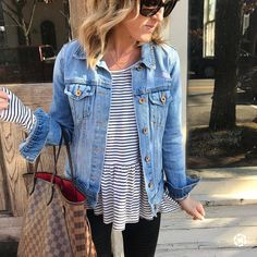 """813 Likes, 29 Comments - Fashion Bloggers (@twopeasinablog) on Instagram: """"Love the updated distressing on a classic denim jacket. This one is currently on sale. Spending…"""""""