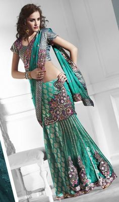 Turquoise Net Ready Pleated Saree with Blouse