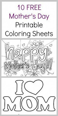 Free Mother's day coloring pages - Mothers Day coloring sheets Mom's love homemade art work. Here are 10 free Mother's Day Coloring Sheets - Coupon Closet Mothers Day Crafts For Kids, Fathers Day Crafts, Mothers Day Cards, Happy Mothers Day, Mothers Day Coloring Sheets, Mother's Day Printables, Mother's Day Projects, Mother's Day Activities, Mother's Day Colors