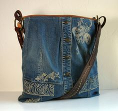 upcycled blue jean jacket big Weekender Bag by karenlukacs on Etsy - woohoo! something to do with that embroidered jean jacket I never wear anymore! Jeans Recycling, Recycle Jeans, Upcycle, Diy Jeans, Jean Purses, Purses And Bags, Embroidered Denim Jacket, Denim Purse, Denim Ideas