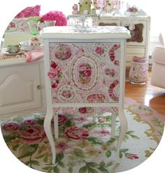 Shabby mosaic cabinet, mosaic table, chic country style, vintage china, home decor, shabby white furniture     www.RomancingTheRoseStudio.com ©Website Design by: OneSpringStreet.NET 2011